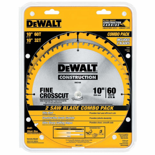 DEWALT DW3106P5 60-Tooth Crosscutting and 32-Tooth General Purpose 10-Inch Saw Blade - saw blades
